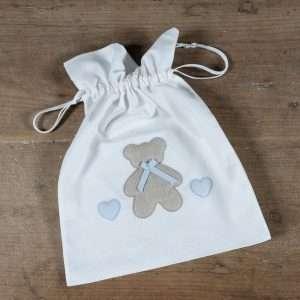 Sacchetto Prima Nascita Orso Bimbo Bianco